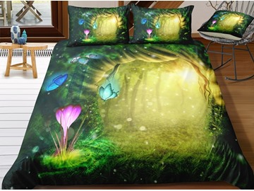 Butterflies and Flower Sparkling Green Printed 3-Piece 3D Bedding Sets/ Duvet Covers