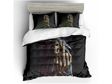 Skull Raised Middle Finger Printed Polyester 3-Piece 3D Bedding Sets/ Duvet Covers