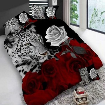 Leopard And Roses Digital Printing Polyester 3D 4-Piece Bedding Sets/Duvet Covers