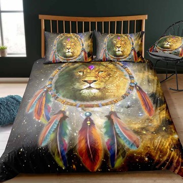 Indian Lion And Dream Catcher Digital Printing Polyester 3D 3-Piece Bedding Sets/Duvet Covers