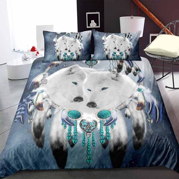 Indian White Wolf And Dream Catcher Digital Printing Polyester 3D 3-Piece Bedding Sets/Duvet Covers