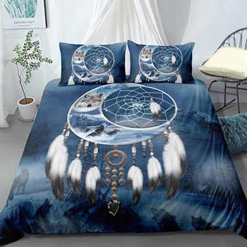 Indian Wolf in The Moon And Dream Catcher Digital Printing Polyester 3D 3-Piece Bedding Sets/Duvet Covers