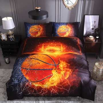 Water and Fire Basketball Digital Printing Polyester 3D 3-Piece Bedding Sets/Duvet Covers