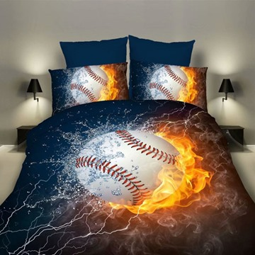 Water and Fire Baseball Digital Printing Polyester 3D 3-Piece Bedding Sets/Duvet Covers