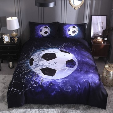Water and Fire Football/Soccer Digital Printing Polyester 3D 3-Piece Bedding Sets/Duvet Covers