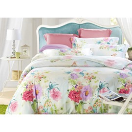 Elegant Flower 4-Piece Tencel Duvet Cover Sets