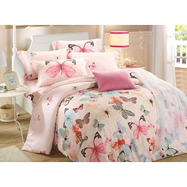 Colorful Butterfly Reactive Printing Pink 4-Piece Tencel Bedding Sets/Duvet Cover