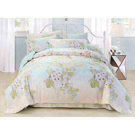 Luxury Forsythia Flower Print 4-Piece Tencel Duvet Cover Sets