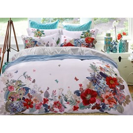 Vivid Flower and Butterfly Print 4-Piece Tencel Duvet Cover Sets