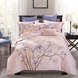 Colorful Flowers Blooming Printed Pink Pastoral Style Tencel 4-Piece Bedding Sets/Duvet Cover