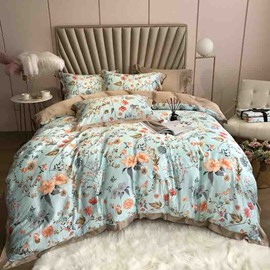60s High Quality Elegant Green Floral Luxury And Healthy 4-Piece Tencel Bedding Sets/Duvet Cover
