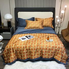 4 PCS Bedding Set Tencel Summer Quilt Set Yellow Plaid Pattern 1 Air Conditioning Quilt 1 Flat Sheet 2 Pillowcases