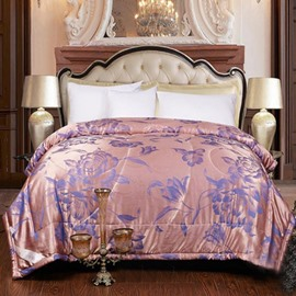 Jacquard Tribute Silk with Flowers Printing Quilt