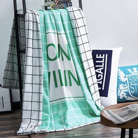 Fresh Style Unique Letters Green Cotton Summer Quilts