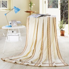 Soft Camel and Beige Jacquard Cotton Quilt