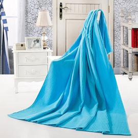 Stylish Solid Blue Jacquard Cotton Towel Quilt