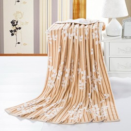Elegant Leaves Jacquard Camel Cotton Towel Quilt