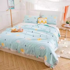 Chic Hot-air Balloon Print Blue Cotton Quilt