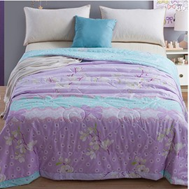 Purple Flowers Print Pastoral Style Polyester Summer Quilts
