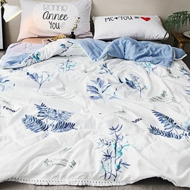 Spring Plants Printed White Polyester Summer Quilt