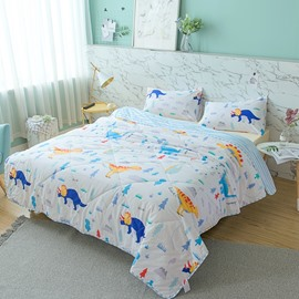 Colorful Dinosaur Pattern Cartoon Style Cotton Summer Quilt