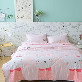 Pink Cute Rabbit Princess Style Summer Quilt