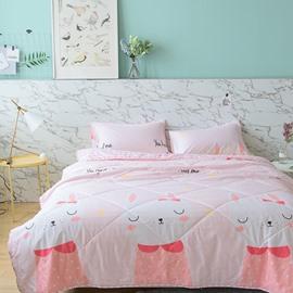 Pink Cute Rabbit Princess Style Summer Quilt