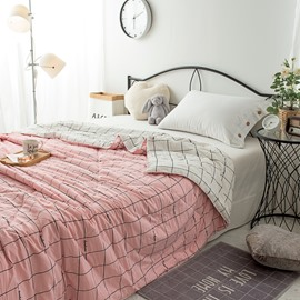 Pink Stripe Pattern Simple Rural Style Polyester Summer Quilt