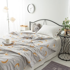 Gray Simple Rural Style Banana Pattern Polyester Summer Quilt