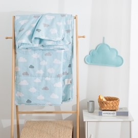 Cute Cloud Pattern Blue Simple Style Cotton Summer Quilt