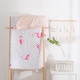 Flamingo And Black Dot Pattern Simple Rural Style Summer Quilt