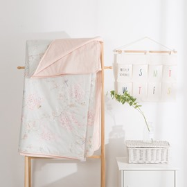 Flower And Butterfly Pattern Pink Simple Rural Style Cotton Summer Quilt