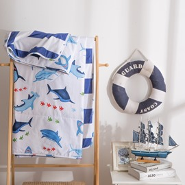 Cute Shark Pattern Cartoon Marine Style Cotton Summer Quilt