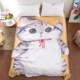 Cat Shaped 3D Cute Comforter Washable Light Summer Quilt
