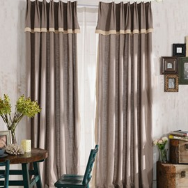 Top Class Elegant Brown Grass Lawn Design Double Pinch Pleat  Curtain