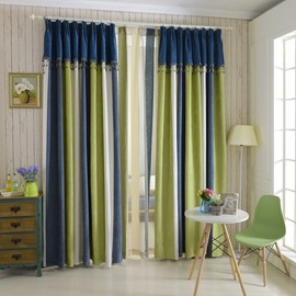 Elegant Concise Green White Blue Chenille Custom Curtain