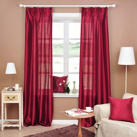 Red Color Wedding Double Pinch Pleat Curtain