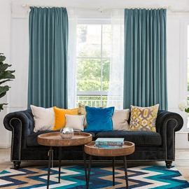 Modern Contemporary Solid Blue Linen Blackout Custom Drapes
