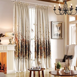 Contemporary Thicken Floral Jacquard Cotton & Linen Blending Custom Curtain