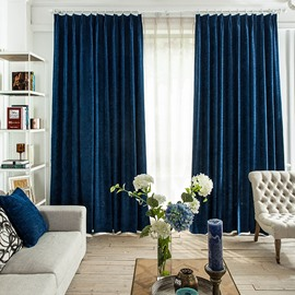 Contemporary Concise Solid Thicken Chenille Insulated Blackout Custom Curtain