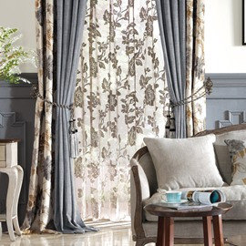 Concise Country Style Floral Jacquard Blackout Custom Curtain