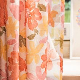 Warm Tone Rustic Floral Jacquard Custom Curtain