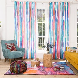 Colored Stripes Window Decoration Cotton and Linen Blending Custom Curtain
