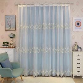 Rustic Floral Embroidery Sheer and Blue Cloth Sewing Together Curtain Sets