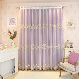 Rustic Floral Embroidery Sheer and Purple Cloth Sewing Together Curtain Sets