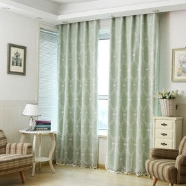Sweet White Embroidery Sheer and Light Green Cloth Sewing Together Curtain Sets