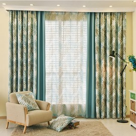 Country Style Blue Leaf and Solid Cloth Splicing Custom Curtain