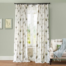Rustic Flowers Printing Cotton and Linen Blending Custom Curtain
