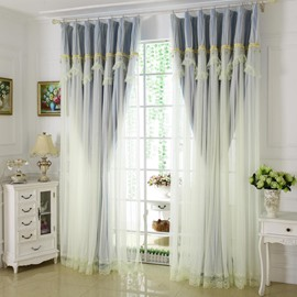 Princess Style Blue Sheer and Cloth Sewing Together Blackout Custom Curtain with Lace