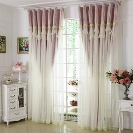 Princess Style Pink Sheer and Cloth Sewing Together Blackout Custom Curtain with Lace